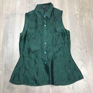 Theory Dark Green Sleeveless Button Up Blouse